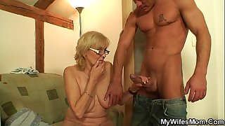 Old gfs mother takes it from behind