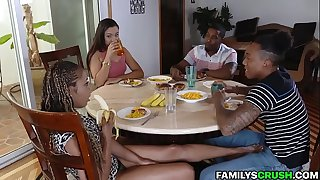 Black Stepfamily Diner Turns Into Xxx Orgy