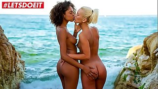 Molten Teenagers string up lesbo SEX by the beach (Luna Corazon & Cecilia Scott)