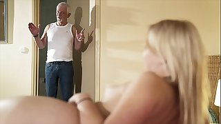 Hello grandpa sate pound my pussy and let me swallow cum