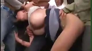 Asian lady gangbanged and groped on her way to work on a public train by strangers