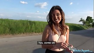 Public Agent Mexican honey Frida Sante gives roadside blowjob and pounding