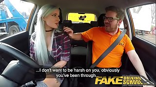 Fake Driving School Busty goth learner in assfuck and sex toys lesson finale